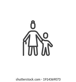 Grandmother with grandson line icon. linear style sign for mobile concept and web design. Grandma and child outline vector icon. Symbol, logo illustration. Vector graphics