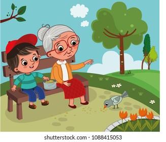 Grandmother and grandson are in the nature. They are sitting on a bench in the park and feeding a bird. Vector illustration.
