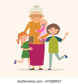 Grandmother with her grandchildren. Vector illustration in cartoon style