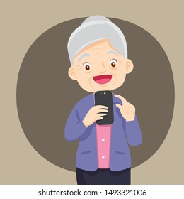 Grandmother holds a phone in his hand. Vector illustration in cartoon style,Happy senior man messaging on mobile smartphone.