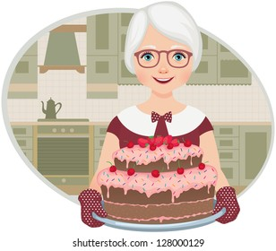 Grandmother in the home kitchen holding a tray with a cake
