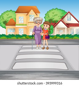 Grandmother and kid crossing the road illustration