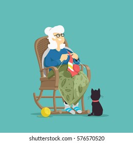 Grandmother knits a scarf. Vector Illustration.