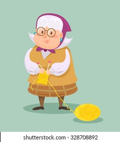 Grandmother knits. Vector flat cartoon illustration