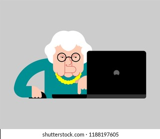 Grandmother laptop working. Old woman and notebook. vector illustration