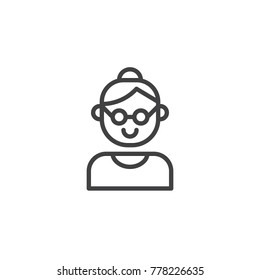 Grandmother line icon, outline vector sign, linear style pictogram isolated on white. Grandma symbol, logo illustration. Editable stroke