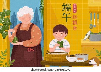 Grandmother making rice dumplings with her grandchild in the kitchen, Dragon Boat Festival and Fifth of May fragrance float in the air written in Chinese character