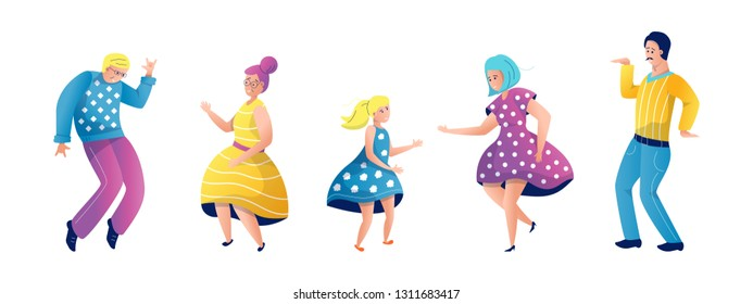 Grandmother, mother and daughter in dresses dance, jump and rejoice. Dad and Grandpa in pants, The family is resting. Vector flat illustration in cartoon style. Set of Isolated objects character