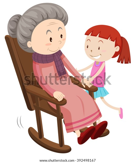 Prime Grandmother On Rocking Chair Girl Illustration Stock Vector Creativecarmelina Interior Chair Design Creativecarmelinacom