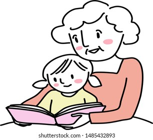 Grandmother reading bedtime story with little girl. Woman reading a storybook to granddaughter. Little girl reading a storybook together with grandma. Senior woman spending happy family time with kid.