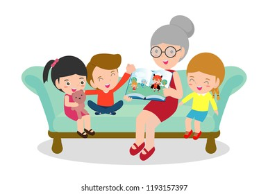 Grandmother reading fairy tales to her grandchildren, reading and telling book fairy tale story, Kids Listening to Their Grandmother Tell a Story, Vector Illustration
