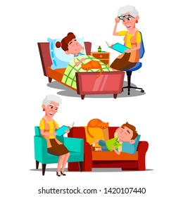 Grandmother Reading Nighttime Story Book Vector. Character Old Woman Reading Bedtime Fairy Tale For Grandson Little Boy And Girl. Children And Domestic Cat Sleeping Time Flat Cartoon Illustration