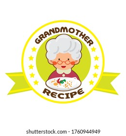 grandmother recipe with star logo template. logo for restaurant or homemade cooking