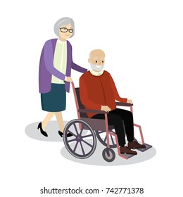 Grandmother rolls wheelchair in which sitting old man,smiling pensioners,isolated on white background,cartoon vector illustration