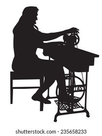 Grandmother silhouette with an old sewing machine