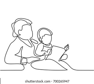Grandmother sitting with grandson and reading book story. Continuous line drawing Vector illustration