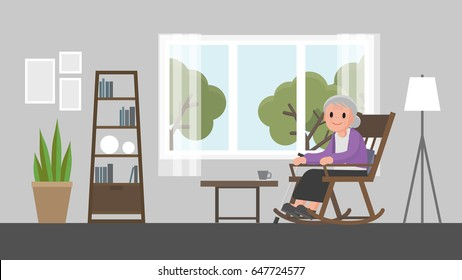 grandmother sitting on a rocking chair in living room. senior woman sitting on rocking chair. Vector illustration.