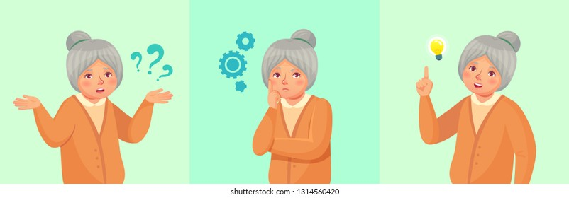 Grandmother thinking. Confused older female, thoughtful senior woman solved question or remembered answer. Old retired grandma dream, discussion or worried vector cartoon illustration