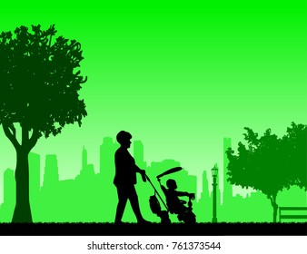 Grandmother walking with her grandson on a tricycle in the park, one in the series of similar images silhouette