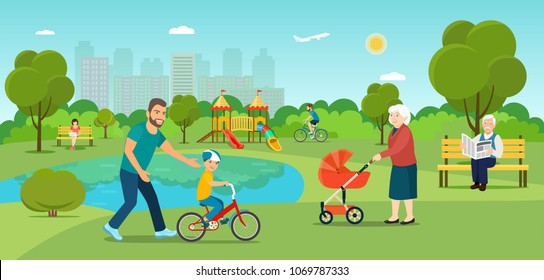 Grandmother is walking with a stroller. Grandfather sitting on the bench Young man is riding a bicycle  and father teaches son to ride a bicycle in the park. Vector flat illustration