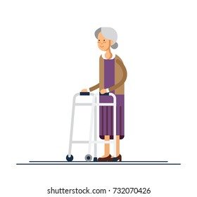 Grandmother walking with a walker. Vector illustration in a flat style