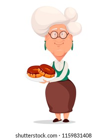Grandmother wearing eyeglasses. Silver haired grandma. Cartoon character holding plate with donuts. Vector illustration on white background.