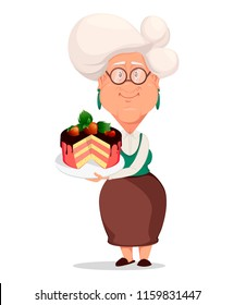 Grandmother wearing eyeglasses. Silver haired grandma. Cartoon character holding plate with tasty cake. Vector illustration on white background.