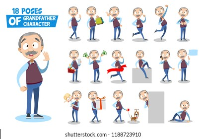 Grandpa character big animated set. Elderly man talking on mobile phone and shopping with basket. Holding grandchild and walking with dog. Grandfather various poses and gestures vector illustration