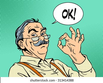 Grandpa gesture okay old man approval experience success pop art retro style. National Grandparents Day father