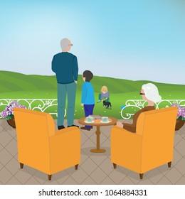 Grandpa and grandma with grandchildren enjoying the sunny spring day outdoors
