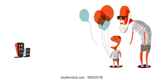 Grandpa and grandson holding balloon. Doodling in watercolor like vector