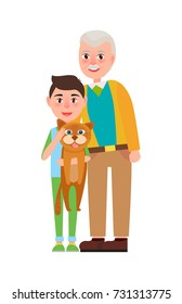 Grandpa with grandson holding fluffy cat in hands vector illustration isolated on white. Adorable grandad spend time with schoolboy and his pet
