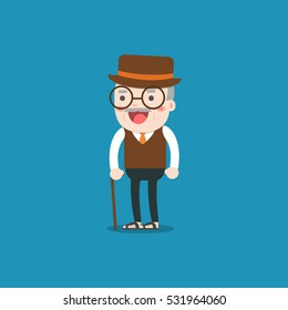 grandpa. Old man person. Vector character