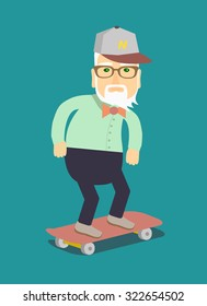 Grandpa on a skateboard. Isolated vector illustration in a flat style .