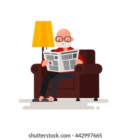 Grandpa reading the newspaper while sitting in a chair. Vector illustration of a flat design