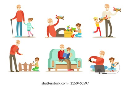Grandpa spending time with grandchild set, grandfathers playing, walking, reading books and having fun with their grandchildren vector Illustrations on a white background