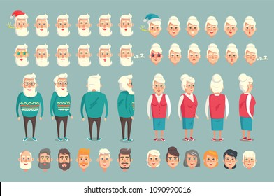 Grandparent construction constructor animated characters set with emoticons of grandfather and grandmother, elderly people profile, back view, vector