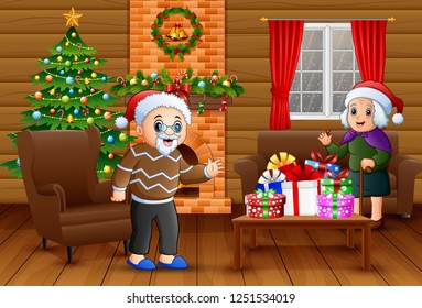 Grandparents is celebrating a christmas in the living room
