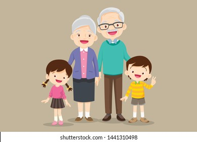 grandparents with children.grandson and granddaughter portrait.Happy grandparents with grandchildren day concept.