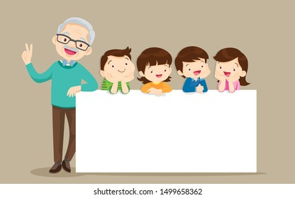grandparents and childrens with banner for Copy Space.Smiling Granfather  standing with kids together a white board
