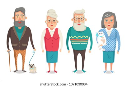 Grandparents collection, granny holding kitty, granddad with stick walking dog, grandma and grandpa standing calmly, isolated on vector illustration