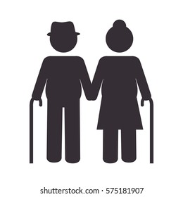 grandparents couple silhouette icon