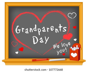 Grandparents Day Chalkboard. We love you!  Annual holiday on first Sunday of September following Labor Day. Chalk text and hearts on wood frame blackboard. EPS8 compatible.