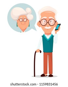 Grandparents day greeting card. Grandfather calling to grandmother. Silver haired grandma and grandpa. Pretty cartoon characters. Vector illustration on white background
