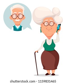 Grandparents day greeting card. Grandmother calling to grandfather. Silver haired grandma and grandpa. Pretty cartoon characters. Vector illustration on white background