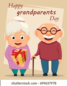 Grandparents day greeting card. Grandmother and grandfather standing together. Grandpa with cane and grandma with gift box. Vector illustration