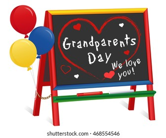 Grandparents Day, We love You!  USA holiday 1st Sunday of September following Labor Day, balloons, wood chalkboard easel for children, for daycare, nursery school, kindergarten. EPS8 compatible.