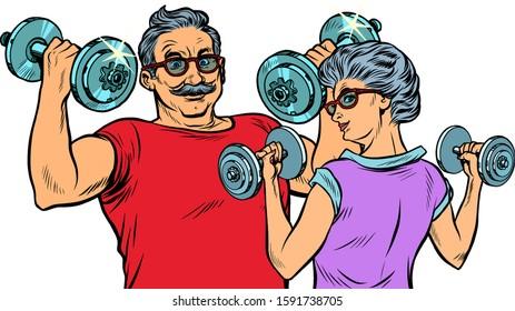 Grandparents do sports, fitness dumbbells. Pop art retro vector illustration drawing vintage kitsch