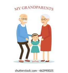 Grandparents family with grandchild. An elderly couple hugging her granddaughter. Old man and woman with little girl. Vector illustration flat design