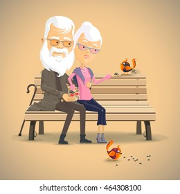 Grandparents feed the birds on the bench , Vector illustration in flat, cartoon style isolated from the background